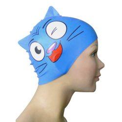 Schwimmkappe - Katze navyblau Kinder silikon