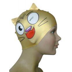 Schwimmkappe - Katze gold Kinder silikon