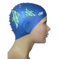 Schwimmkappe - Fisch royalblau Kinder silikon