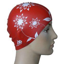 Schwimmkappe - Blumen rot silikon