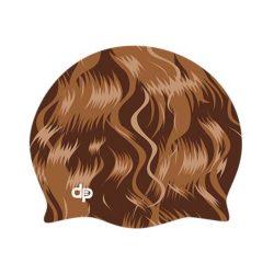 Schwimmkappe - braun Haar silikon