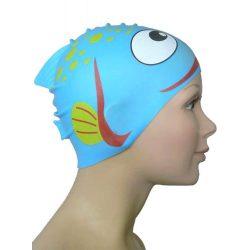 Schwimmkappe - Fisch navyblau Kinder silikon