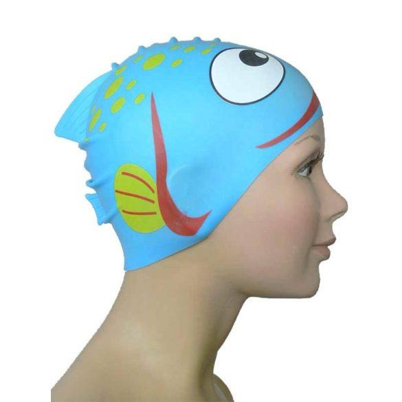 Schwimmkappe-Fisch Kinder silikon-navy blau
