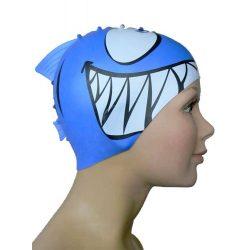 Schwimmkappe - Shark royalblau silikon