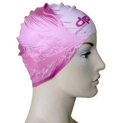 Schwimmkappe - Feder muster pink silikon