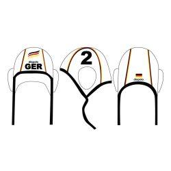 Deutsche Wasserball Nationalmannschaft-Wasserballkappe schwarz mit Nummer