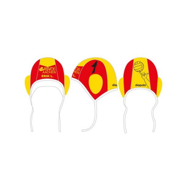 ASV06 AACHEN-Wasserballkappe mit Nummer-rot/gelb