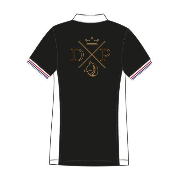 Damen Poloshirt-Avignon mit Pferd muster-schwarz/weiss