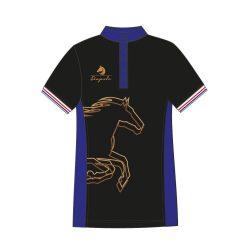 Damen Poloshirt - Avignon mit Pferd muster schwarz-royalblau