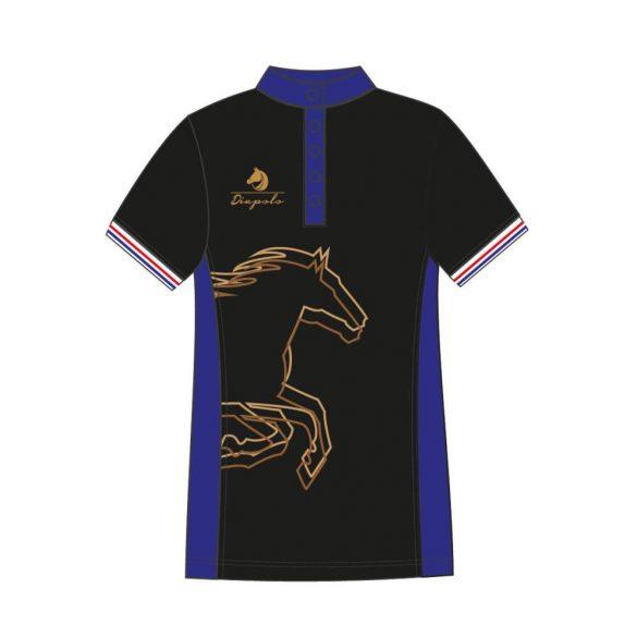 Damen Poloshirt-Avignon mit Pferd muster-schwarz/königsblau