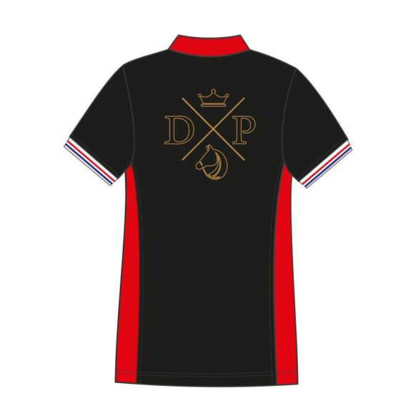 Damen Poloshirt-Avignon mit Pferd muster-schwarz/rot