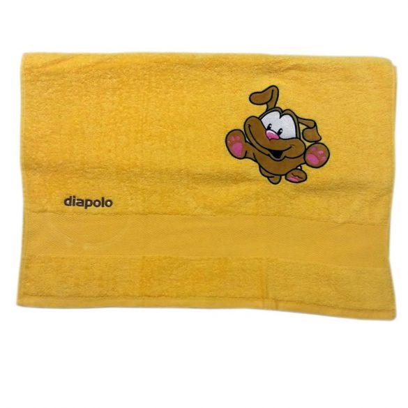 Handtuch-gelb mit Hund gesticktene (70x140 cm)