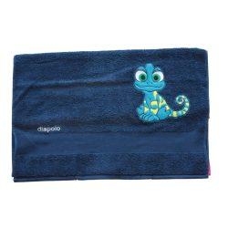 Handtuch - royalblau mit kameleon 70x140 cm gesticktene