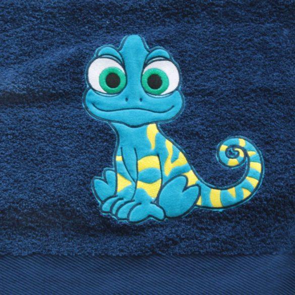 Handtuch-königsblau mit kameleon gesticktene (70x140 cm)