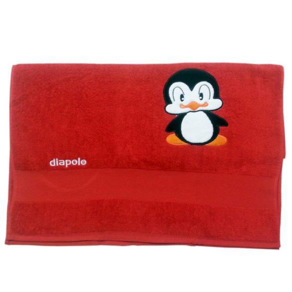 Handtuch-Rot mit Pingvin gesticken (70x140 cm)