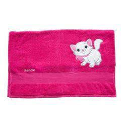 Handtuch - pink mit Katze 70x140 cm gesticken