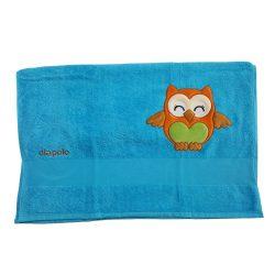 Handtuch - blau mit Eule 70x140 gesticken