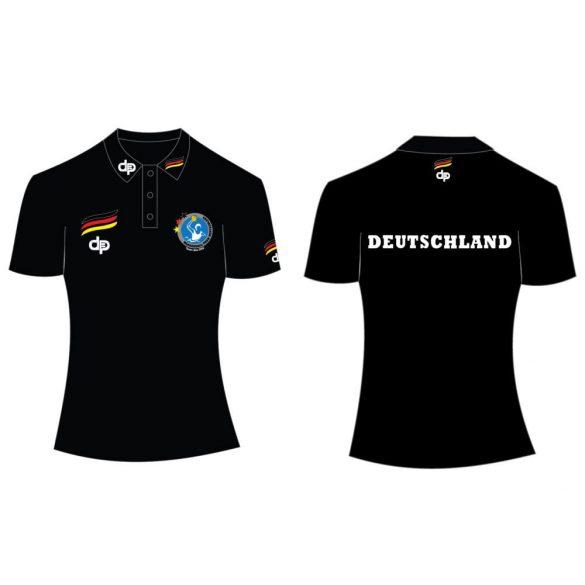 Deutsche Damen Wasserball Nationalmannschaft-Damen Poloshirt-schwarz