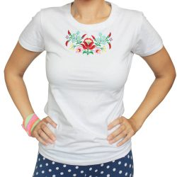 Damen T-shirt-DiapoloMania FOLK3-weiss