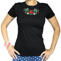 Damen T-shirt-DiapoloMania FOLK3-schwarz