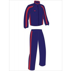 Trainingsanzug-frottier-navy blau/rot