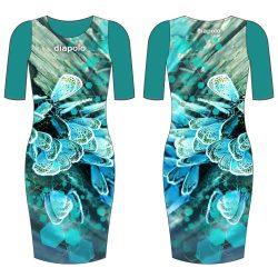 Damen Kleid-blau Butterfly