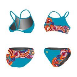 Bikini - Floral blau mit dünnen Trägern