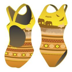 Mädchen Schwimmanzug-Africa mit breiten Trägern