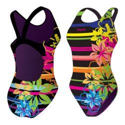 Mädchen Schwimmanzug - Colorful Flowers mit breiten Trägern