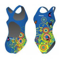 Mädchen Schwimmanzug - Circles 1 mit breiten Trägern