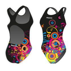Mädchen Schwimmanzug-Circles 2 mit breiten Trägern