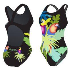 Mädchen Schwimmanzug-Parrot mit breiten Trägern