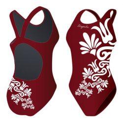 Mädchen Schwimmanzug - Burgundy Flower mit breiten Trägern