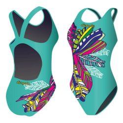 Mädchen Schwimmanzug-Feathery grün mit breiten Trägern