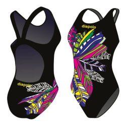 Mädchen Schwimmanzug-Feathery schwarz mit breiten Trägern