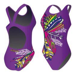Mädchen Schwimmanzug - Feathery purple mit breiten Trägern