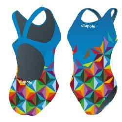Mädchen Schwimmanzug - Cube blau mit breiten Trägern