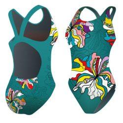 Mädchen Schwimmanzug-Bohemian Flowers 3 mit breiten Trägern