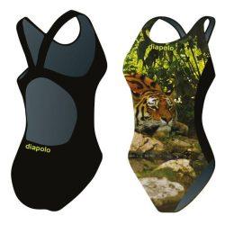 Mädchen Schwimmanzug-Tiger 2 mit breiten Trägern