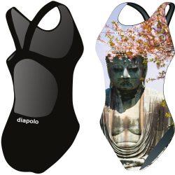 Mädchen Schwimmanzug-Buddha mit breiten Trägern