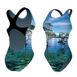 Mädchen Schwimmanzug - Landscape mit breiten Trägern