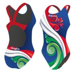 Mädchen Schwimmanzug - HUN 3 blau mit breiten Trägern