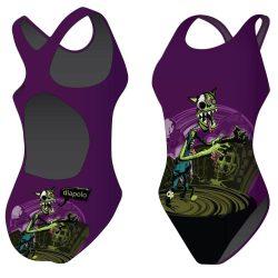 Mädchen Schwimmanzug - Halloween Cat mit breiten Trägern