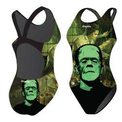 Mädchen Schwimmanzug - Halloween Frankenstein face mit breiten Trägern