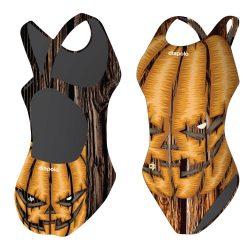 Mädchen Schwimmanzug - Halloween Pumpkin Face mit breiten Trägern