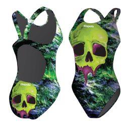 Mädchen Schwimmanzug - Halloween Skull Face mit breiten Trägern