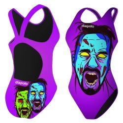 Mädchen Schwimmanzug - Halloween Zombie Face mit breiten Trägern