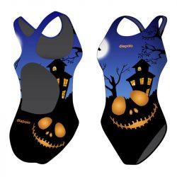 Mädchen Schwimmanzug - Halloween Smile mit breiten Trägern