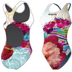 Mädchen Schwimmanzug - Colorful Flower 1 mit breiten Trägern