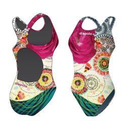 Mädchen Schwimmanzug - Colorful Flower 3 mit breiten Trägern